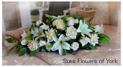 Wedding Flowers Top Table Arrangement in Ivory Roses & Lilies
