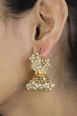 Traditional Indian Ethnic Gold Tone Pearl Jhumka Earrings Bollywood Jewelry 6008