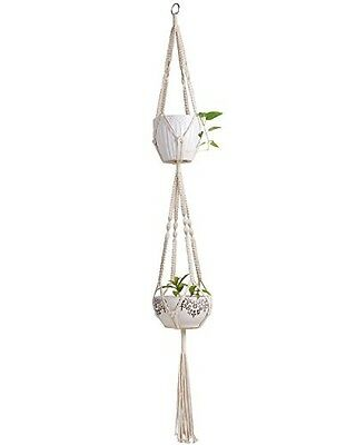 Mkono Macrame Double Plant Hanger Indoor Outdoor Hanging Planter Cotton Rope 4