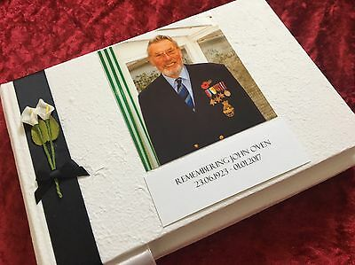 Book of Condolence Funeral  Message Memorial Bereavement Personalised Photo