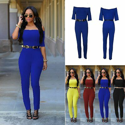 New Women Off Shoulder Party Jumpsuit Playsuit Bodycon Romper Trousers Clubwear