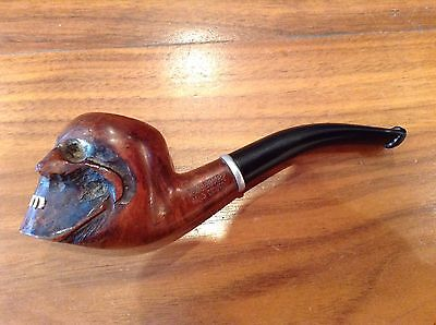 Superb vintage Real Briar Hand Carved Skull pipe.