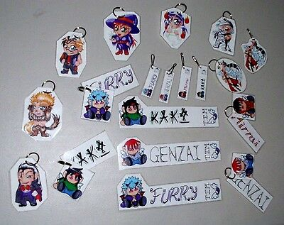 Lot of over 200 Anime Fan Art Keychains & Bookmarkers see photos
