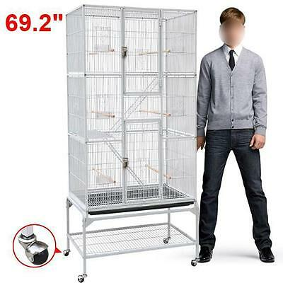 "69.2"" White Large Bird Parrot Macaw Cockatoo Cage Pet Supply Bird Perch Stand"
