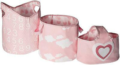 Delta Children 3 Piece Canvas Nursery Storage Set Pink Heart