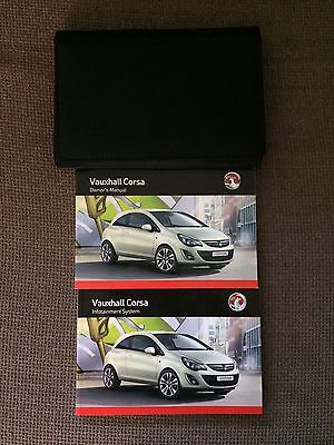 Vauxhall Corsa Owners Manual User Guide & Infotainment Handbook Book Wallet 2013