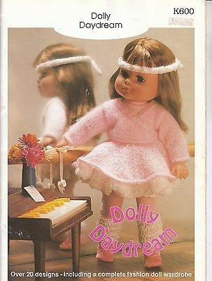 Vintage Dolls Clothes Knitting Pattern Book, DOLLY DAYDREAMS w/ Barbie 11.5 in