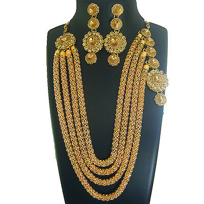 I 2 Indian Bollywood Jewelry Bridal Necklace Gold Ethnic Traditional Earring Set