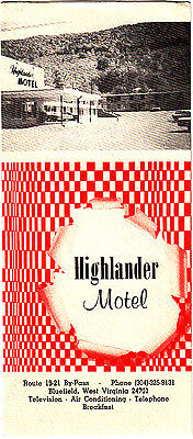 Highlander Motel Route 19-21 By-Pass Bluefield West Virginia Vintage Brochure