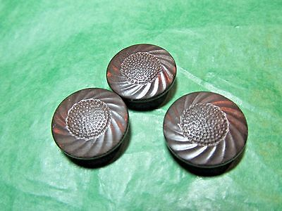 """(3) 3/4"""" DECORATIVE BROWN VEGETABLE IVORY? SHANK BUTTONS-VINTAGE Lot#GB1081"""