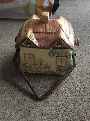 Keele Pottery Hand Painted Cottage Ware Biscuit Barrel