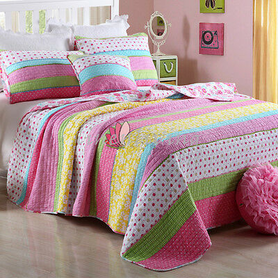 Reversible Quilted Cotton Patchwork Coverlet Bedspread 2pc Set Single/KSB MPK001