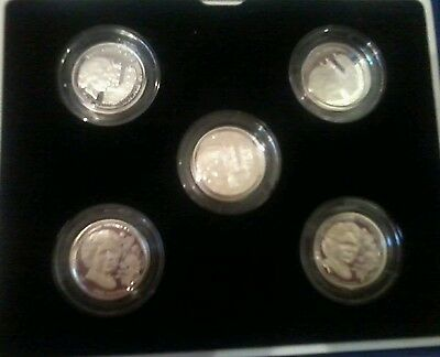 set of 5 Guernsey silver proof £1 coins