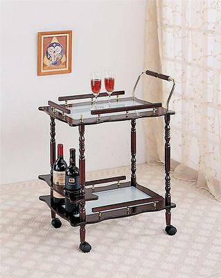 Cherry Finish Kitchen Serving Cart Wine Mini Bar With Frost Glass