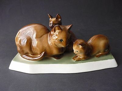 Vintage Hungarian  Zsolnay  Three Cats Figurine In Perfect Condition
