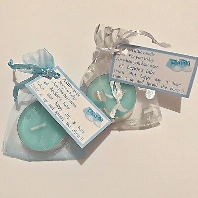 Personalised Baby Shower Favours Table Decoration Tea Light Candle Blue Boy 50p