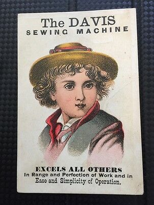 vintage or antique sewing machine trade card - The Davis Sewing Machine