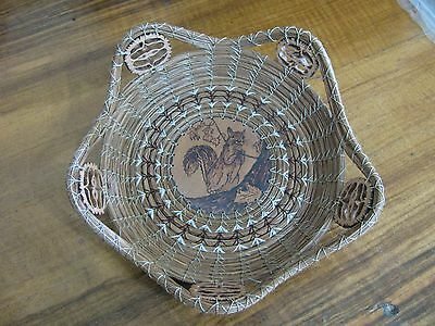 Wood Burnt Image of a Squirrel Pine Needle Basket