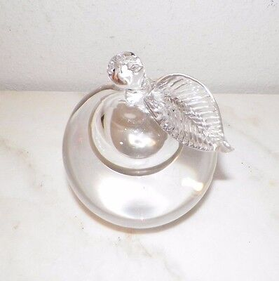 "Murano For Ogetti Clear Crystal Apple Paperweight Large 5"" Tall 13"" Around"