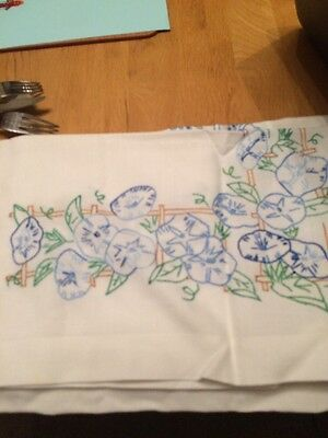 VINTAGE But Brand New Hand Embroidered Linen Tablecloth