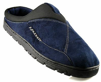 Mens New Gents Fleece Lined Slip On Hard Wearing Sole Mule Slippers Shoes Size