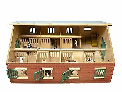 Large Wooden Horse Stables & stalls - children's toy equestrian set, 1:24 scale