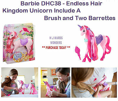 .99Barbie DHC38 - Endless Hair Kingdom Unicorn Include A Brush and Two Barrettes