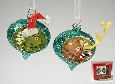 Blown Glass THE GRINCH & MAX Dr Seuss Indent Ornaments Set of 2 Hallmark NIB