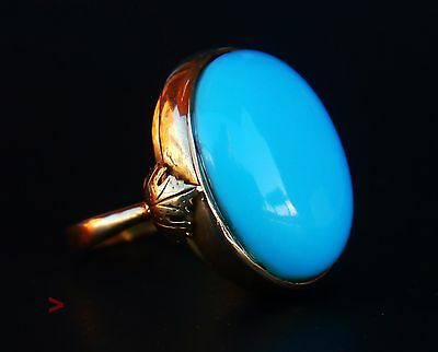 Antique Ring solid 18K Yellow Gold 25 ct Persian Turquoise  Ø US 8.25 /12.8