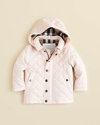 NWT BURBERRY Jerry Hooded Quilted Puffer Jacket Ice Pink Infant Baby Girls Coat