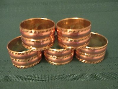Lot of 5 Brass over Copper Fancy Napkin Rings   Vintage