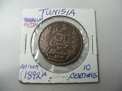 French Protectorate TUNISIA AH1309 1892A 10 centimes -ALI BEY 1882--1902 AD-