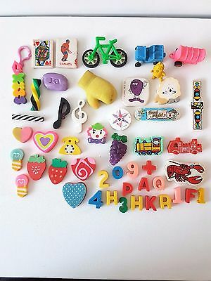 45+ Vintage Full Size Erasers Mix Lot Objects Characters Food Letters Boxing