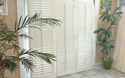 "New Nterior Custom Solid Wood Plantation Shutters 2.5"" Louvers Three Available"