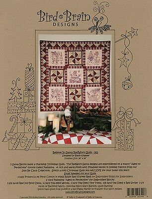 BELIEVE IN SANTA QUILT HAND EMBROIDERY PATTERN, From Bird Brain Designs NEW