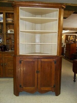Antique American Handmade Solid Cherry Hepplewhite Corner Cupboard ~ c. 1800