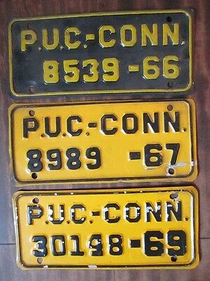 Connecticut PUC Plate~3 Available~1966/67 & 69~VG