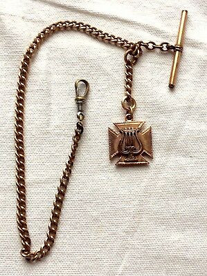 Antique Victorian Gold Filled Double Sided Lyre Watch Fob & Chain
