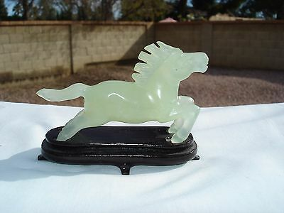 Chinese Carved Small Jade Galloping Horse On Wood Base