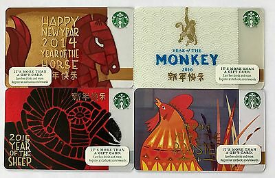 Starbucks NEW YEAR Gift Cards - Lot of 4: 2017, 2016, 2015 & 2014 - New