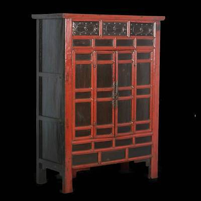 Antique Chinese Red Painted/Lacquered Cabinet With Paneled Doors