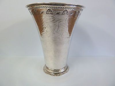 18th C. SWEDISH SOLID Silver Engraved Beaker. Gilded Interior. 1773. 100g