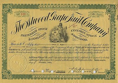 The Atwood Grape Fruit Company Common Stock Certificate 2 Shares 1944