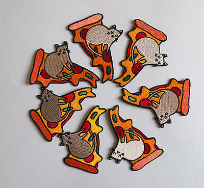 Pizza and Cat Patches Embroidered Applique Sew Iron On Patch Fabric Badge Craft