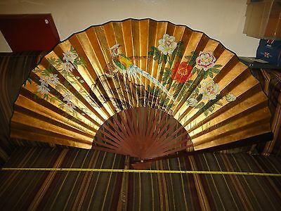 "Beautiful Vintage Large Handpainted Japanese Wall Fan 60"" x 30"" Unfolded Gold"