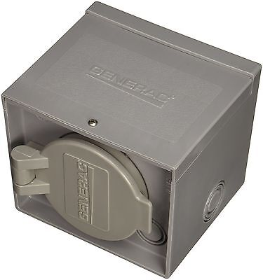 Generac 6340 30-Amp 125/250-Volt Raintight Power Inlet Box with Spring-Loaded Fl