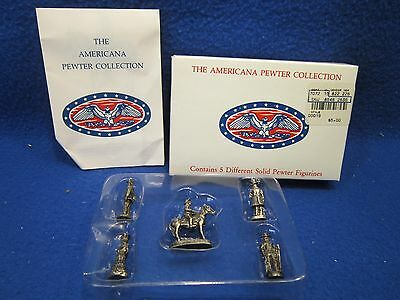 Set Of 5 Americana Ah19 Collection Pewter Miniature Toy Figurines 1992 In Box