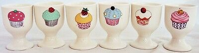 Fairy Cupcakes Eggcups Set of 6 Bone China Egg Cups Hand Decorated in the U.K.