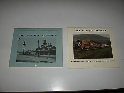 2 Railway Calendars - 1981 and 1987 - Lackawanna & Wyoming Valley Chapter NRHS
