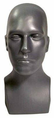 "15"" Realistic Tall Male Mannequin Head, Durable Plastic Grey, Display Wig Hat"